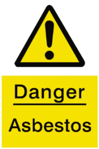 A warning sign for asbestos.