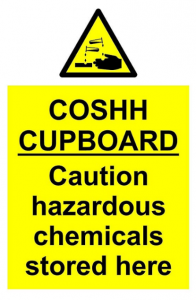 A warning sign for a cupboard containing harmful chemicals.