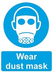 Sign for ensuring dust mask use in a given area.
